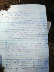 The petition that was given to the Bulawayo Town Clerk